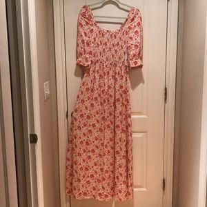 NWT Something Navy Pink and Ivory Floral Maxi Gown